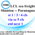 Ocean Freight Forwarder Free Shipping Shantou to Paranagua