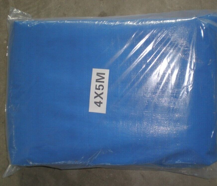 Blue tarpaulin with poly bag