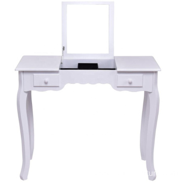 Vanity Set Dressing Table Flip Top Mirror Cushioned Bench Bedroom Furniture Table Desk Set