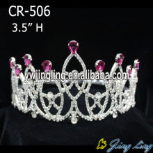 Rhinestone Purple Beauty Queen Crowns Gold Plated Tiaras