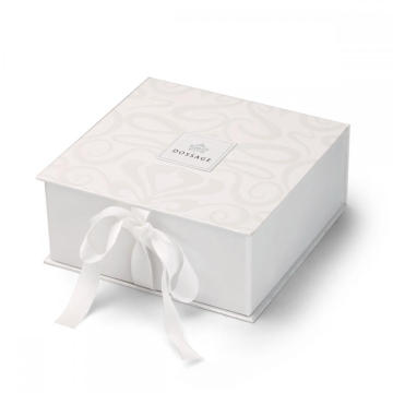 White Unique Design Collapsible Gift Box With Ribbon