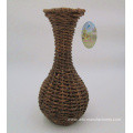 Weaving Handicraft Round Plastic Rattan Flower Vase