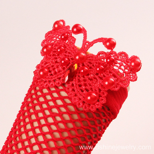 Red Butterfly Mesh Elastic Lace Hand Jewelry Bracelet