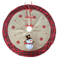 Christmas burlap tree skirt with snowman pattern