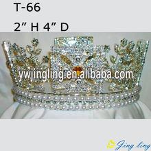 Full Round Rhinestone Flower Shape Queen Crowns