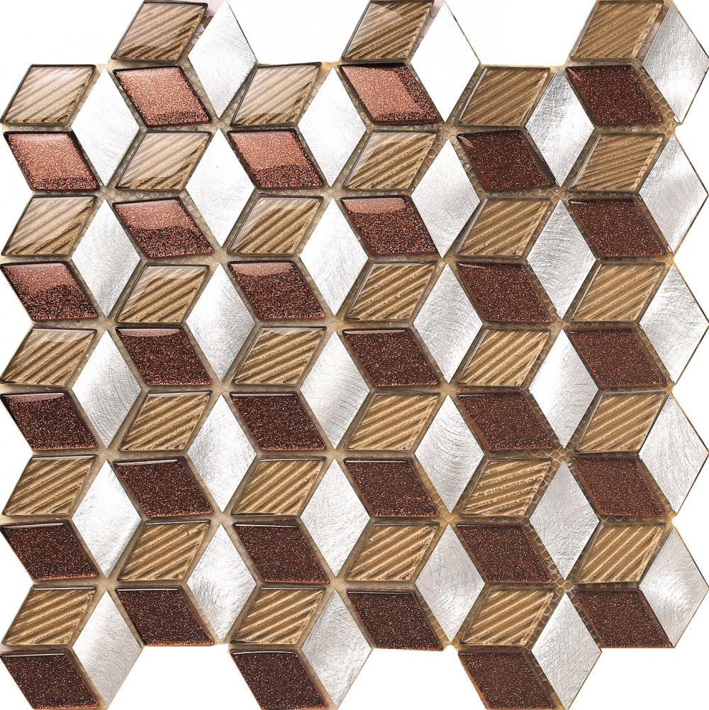 Shiny Brown Glass Mix Aluminium Mosaic