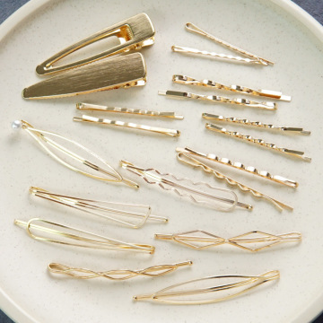 Ladies elegant pearl gold hairpin edge clip