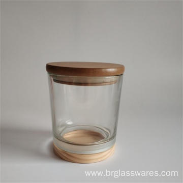 wooden top and wooden bottom glass candle jar