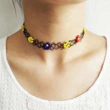 Fashion Beaded Flower Shape Vintage Stretch Tattoo Necklace