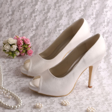 Peep Toe White Satin Shoes for Wedding