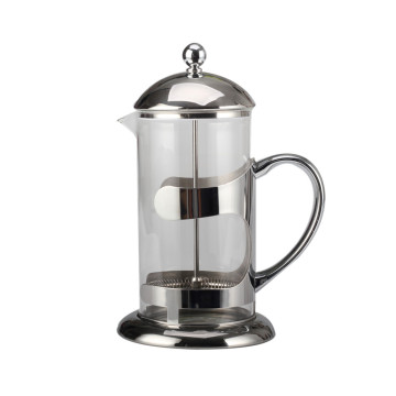 Silver Heat-resstant Glass French Press Coffee Kettle