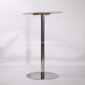 Brief Style Bar Table with Stainless Steel Base