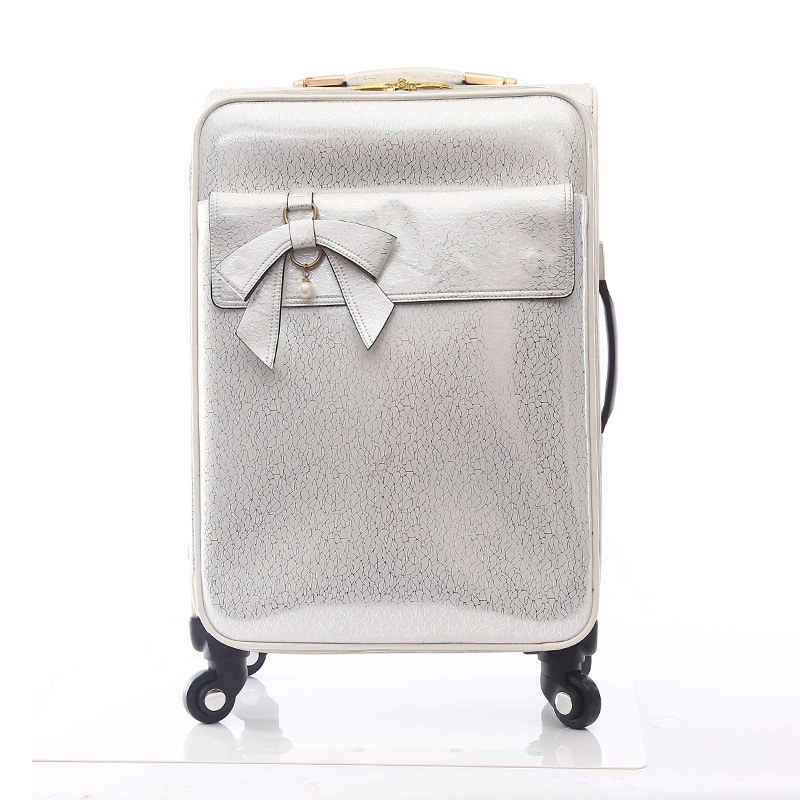 Travel trolley luggage PU suitcase set with cosmetic bag