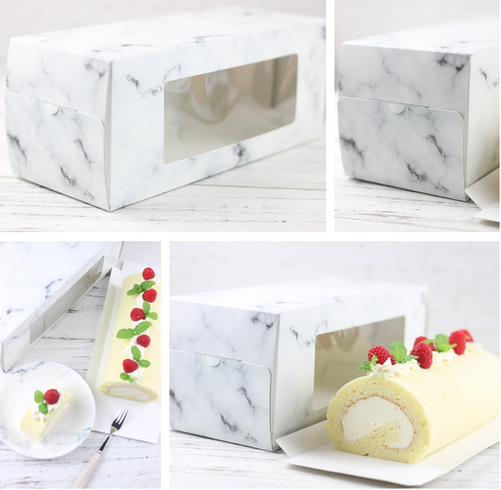 Marble pattern swiss roll cake box wholesale