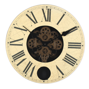 China for Wood Gear Clock Pendulum wooden wall clock for wall decoration export to Portugal Suppliers