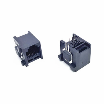 RJ11JACK Side entry Plastic with metal legs 1x1P