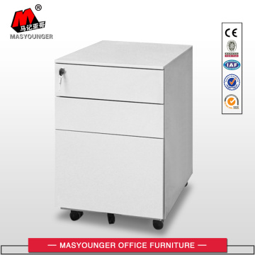 White 3 Drawers Mobile Pedestal