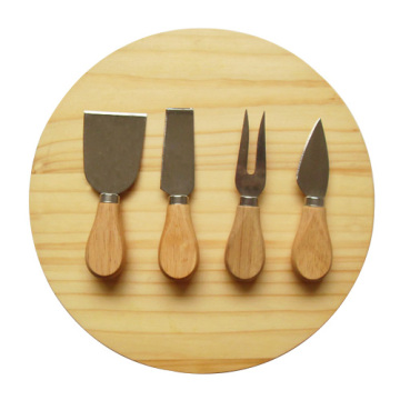 Round oak cheese board with 4pcs knife