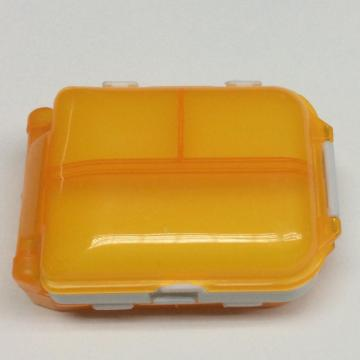 Plastic classified three-layer square pill case