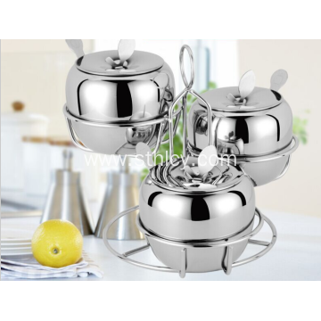 A Three Piece Suite Stainless Steel Seasoning Jar