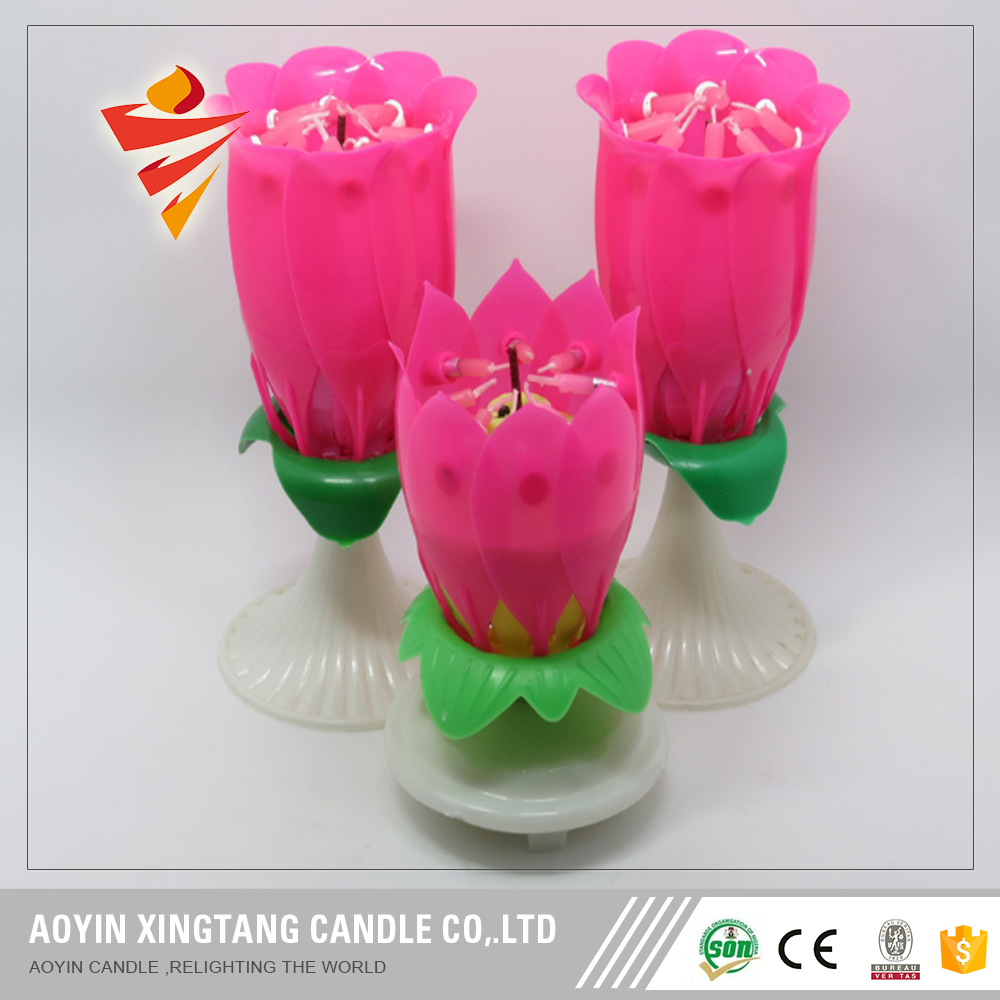 Party supplies birthday musical lotus candle