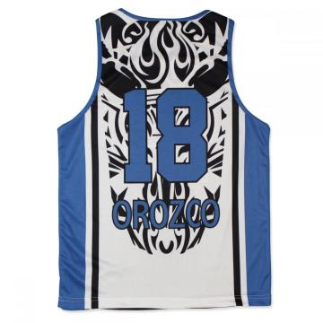 Heat transfer blue mesh fabric sublimated basketball jersey