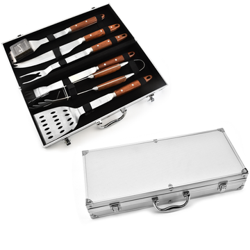 6PCS Wooden Handle BBQ Set With Aluminum Case