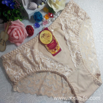China OEM wholesale free sample apricot sexy comfortable lace cotton fancy panty 5832