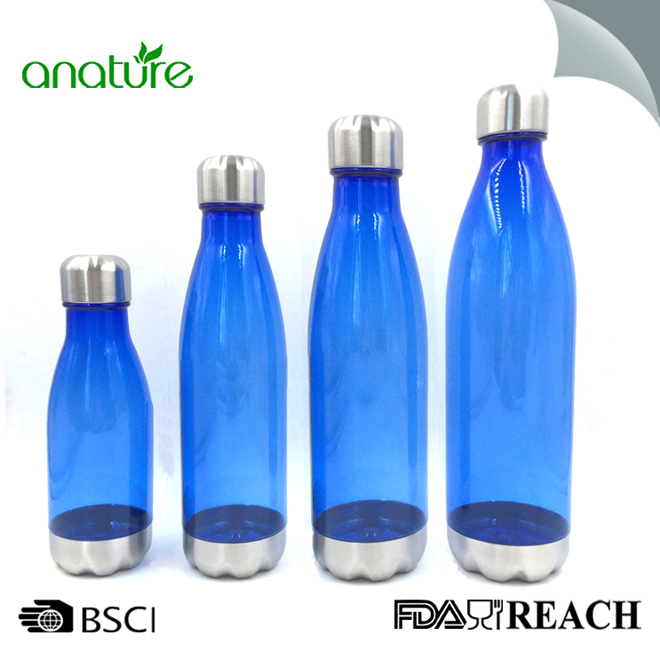 17oz Cola Plastic Water Bottle With Steel Bottom And Cap