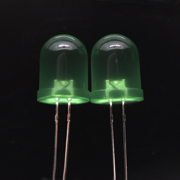 10mm Ultra-high Brightness Green LED Diffused 60 Degree