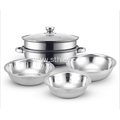3 Piece Stainless Steel Steamer Pot Rice Sieve