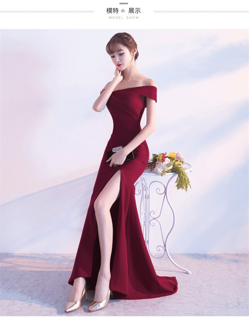 A word shoulder bride toast dress Korean fashion long section of the sexy fish tail dress female red Slim