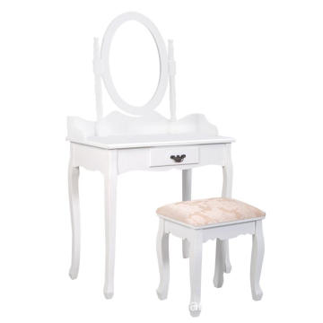 Bathroom Vanity Wood Makeup Dressing Table Stool Set Jewelry Desk 4 Drawers