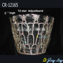 8 Inch Rhinestone Star Crowns Adjustable Band