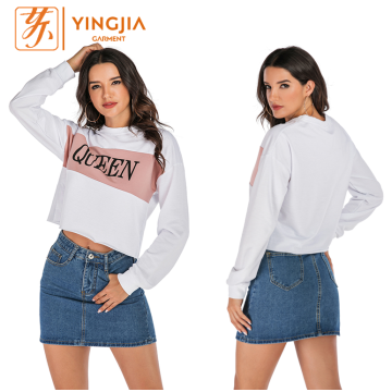 Female Letter Printing Stitching Casual Pullover Sweatshirt