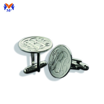 Custom made round embossed logo cuff links