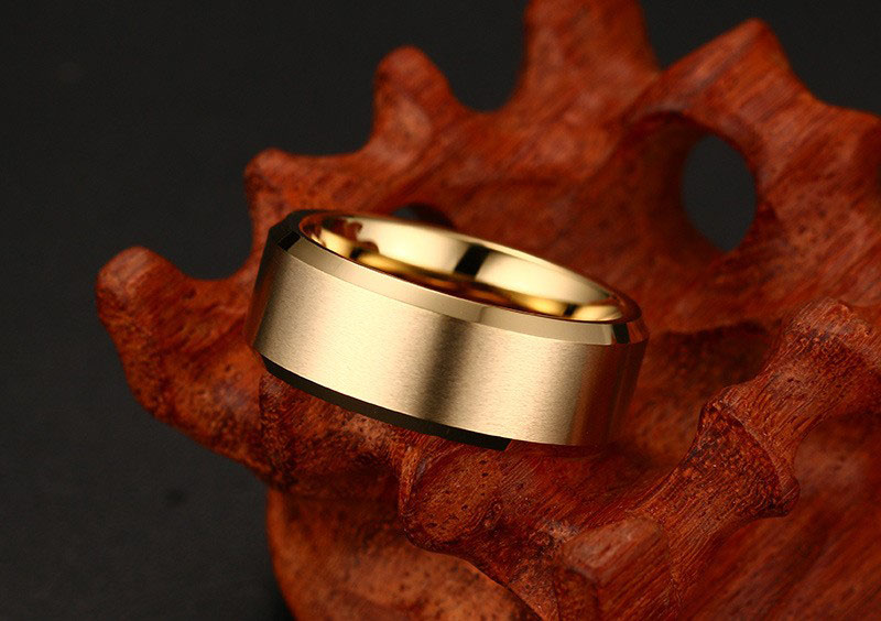 mens gold tungsten wedding bands