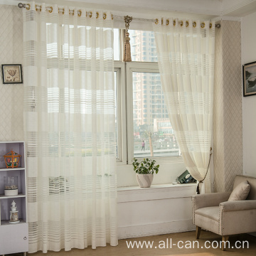 polyester jacquard striped style sheer curtain fabric