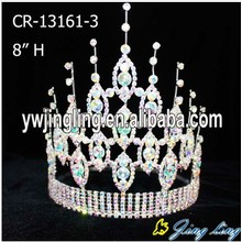"8"" Light Green Rhinestone Pageant Crown"