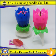 Hot Sale Lotus Music Fireworks Happy Birthday Candle