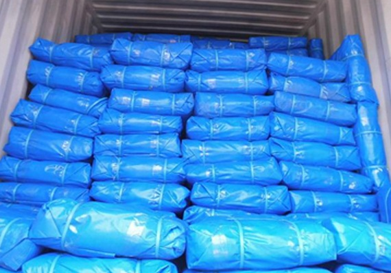 Blue PE tarpaulin bale packing
