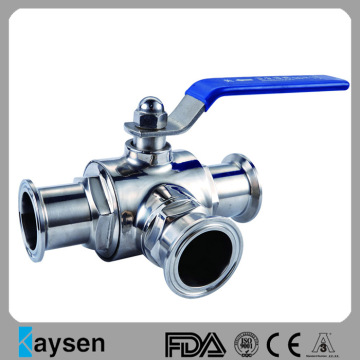 Sanitary Three Way Clamped Ball Valve 3A
