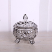 China Manufacturers for Glass Candy Jars Smoky grey glass candy jar with leg supply to Indonesia Manufacturer