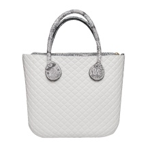 Diamond white classic zipper top beach tote handbags