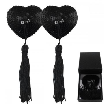 Black Sequin Nipple Covers Invisible Heart Pasties Bra