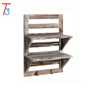 rustic wood wall organizer shelves 2-tier storage rack design