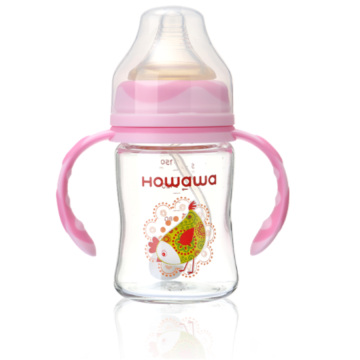 Infant Feeding Glass Bottle With Handle 240ml