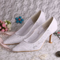 Pointed Bride Shoes White Lace 9CM Heel