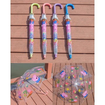 Kid Peppa Pig Auto Promotion Transparent Umbrella