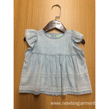 denim embroidery hem casual cap sleeve girls blouse